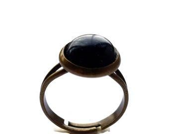 Round Blue Sandstone Cameo Ring Bronze