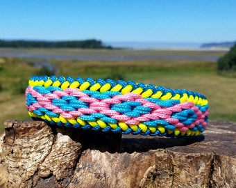 Custom Mini Deluxe Double Diamond Paracord Dog Collar, Choose Your Colors & Closure Type, Sight Hound Collar, Beautiful Braided Collar