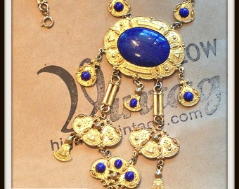 Vintage Cobalt Blue & Gold Egyptian Revival Necklace Accessocraft Large FREE SHIPPING
