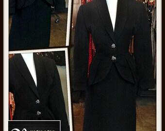 Vintage Balenciaga Dan Millstein Black Jacket Skirt Set Suit 1950s FREE SHIPPING Nipped in Waist New Look