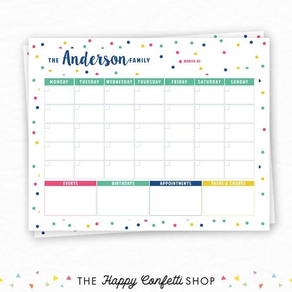 Printable Calendar Personalized Family Calendar Wall