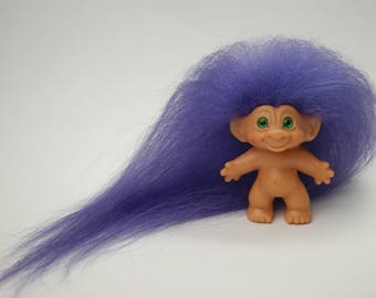 """1960's Scandia Troll Doll with Original Green Spiral Eyes and New Purple Mohair 2 3/4"""""""