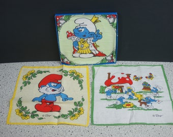 Set of 3 Smurfs Handkechiefs by Peyo from 1980's in Original Box - King Smurf, Papa Smurf, Smurfette and The Rest