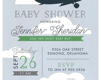 Planes & Automobiles Boy Baby Shower Invitation