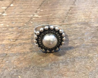 Fred Harvey Era Sterling Silver 'Satellite' ring with stamped band details