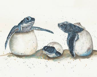 Sea Turtles Hatching, Sea Turtle Series Watercolor, Childrens Art, Beach Art