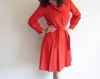 Vintage 60s 70s Red Roth Le Cover Pleated Trench Coat Dress