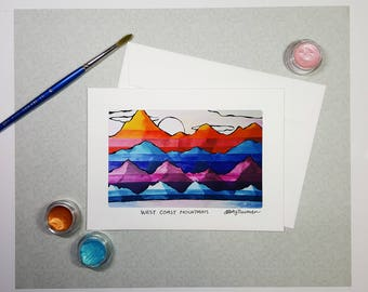 Abstract Mountains Greeting Card, Hiking Gift, Watercolor Mountain Landscape Painting, West Coast Art, Nature Birthday Card, Thank You Card