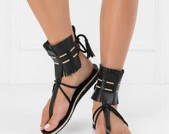 leather sandals,boho womens sandals,fringe sandals,summer flat sandals,greek sandals women,trendy sandals,black flat sandals,t strap sandals
