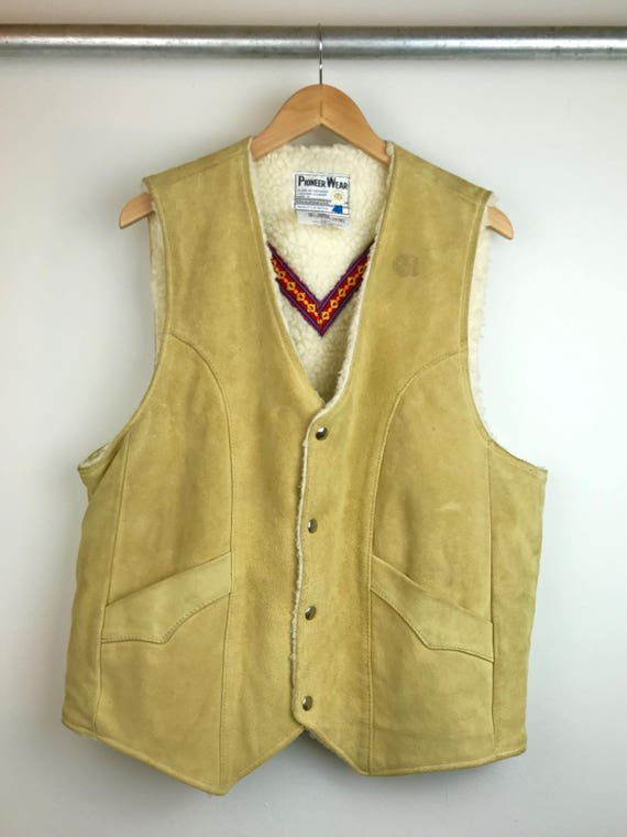 Vintage Men's Suede Vest with Shearling Lining