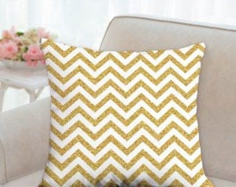Gold and White New Years Pillow