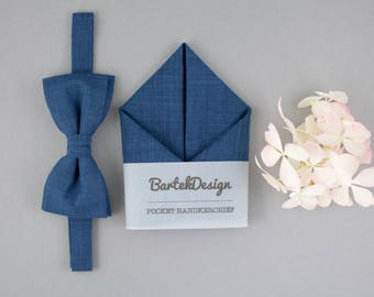 Blue Matching Set Blue Bow Tie Blue Pocket Square Linen Bow Tie Linen Handkechief Bow Tie for Men Gift for Men Bow Tie Set Mens Bow Ties
