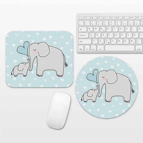 Mom and Baby Elephant Mouse Pad, Mom Mouse Pad Mom Gift from Son, Cute Mouse Pad Elephant Mousepad, Aqua Blue Heart, Desk Decor Accessories