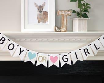 gender reveal party banner - gender reveal party - gender reveal decorations - baby shower banner - baby shower decorations - Boy or Girl?