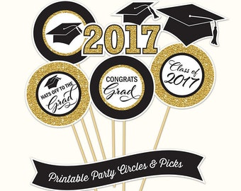 Graduation Party Circles and Picks, PRINTABLE, Black and Gold Glitter, 4 Inch, Graduation Decorations, 2017