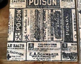 Poison coasters set of 4 tumbled stone hostess gift house warming stocking stuffer