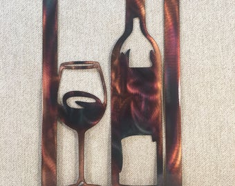 Wine Down Bottle & Glass Metal Wall Art