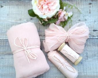 Blush pink silk ribbon - hand dyed silk chiffon fabric - dusty pink crinkle chiffon