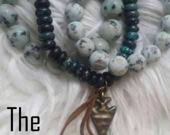 The Vintage Junkie...Stacking, Stretch Robin's Egg and Turquoise Beaded Bracelet Set with Arrowhead Charm and Suede Tassel