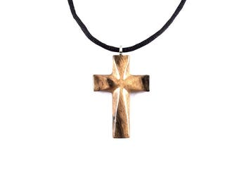 Wooden Cross Necklace, Wooden Cross Pendant, Mens Cross Necklace, Wood Cross Pendant, Cross Necklace, Christian Jewelry, Hand Carved Cross