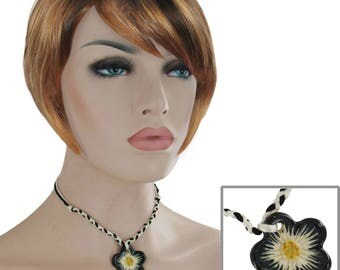 "Vintage Kim Craftsmen Flower Choker Necklace Ceramic Pendant 15"" Festival Wear Jewelry 1970s"