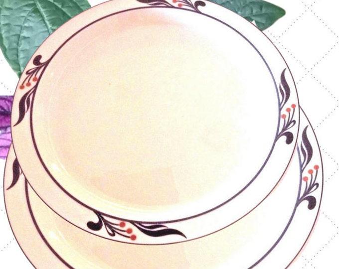 Dansk Vintage Dinnerware, Bistro Maribo Dinner Porcelain Plate, White with Blue Leaves & Berries Set of 2 Plates, Portugal