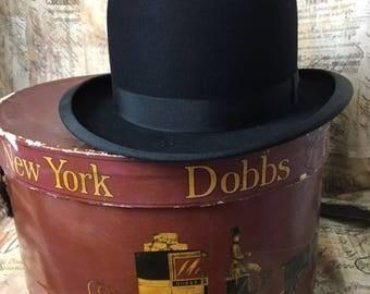 Antique Hat / Vintage Hat / Mens Bowler Hat / Antique DOBBS Hat / Dobbs 5th Avenue New York / Original Box