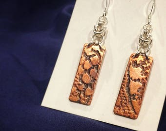 Copper Lace Design Chain-Maille .925 Sterling Silver Earrings