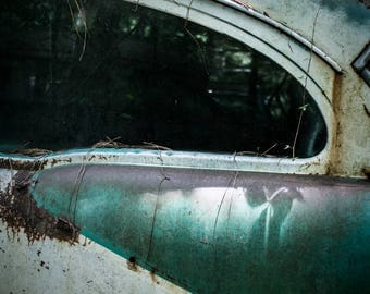 Old Car Closeup Photograph - Green and White Car Print - Vintage American Automobile