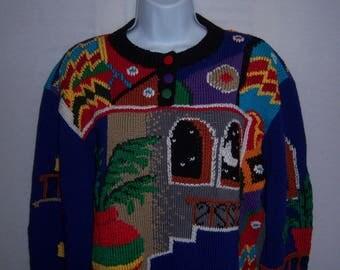 Vintage Berek Hand Knit Black Blue Red Yellow Green Adobe Casa Southwestern Pattern Heavy Cotton Sweater Jumper Medium M Deadstock NWT NOS