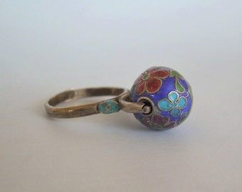 Chinese Spinning Ball Flowers Ring Adjustable Size-Vintage Gold On Sterling Silver & Enamel-Meditation Worry-China Cloisonne Jewelry 01017