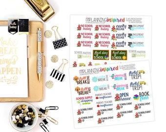 School Stickers, School Stickers for Planner, set of 44 School Planner Stickers