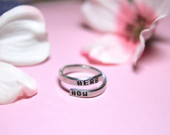 Be Here Now Ring. Be here now jewelry. Yoga Ring. Yoga Jewelry. Present Moment.