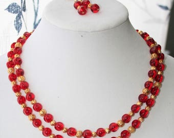 VALENTINE'S DAY, Red Necklace Set, Red and Gold Beaded Necklace, Red Beaded Necklace, Women's Jewelry, Red Earrings, Valentine's Day Gift