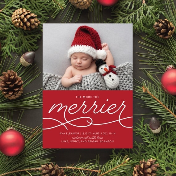 Christmas Birth Announcement, Winter Baby Photo Cards, Red Christmas Cards, Newborn Photo Holiday Card - More the Merrier