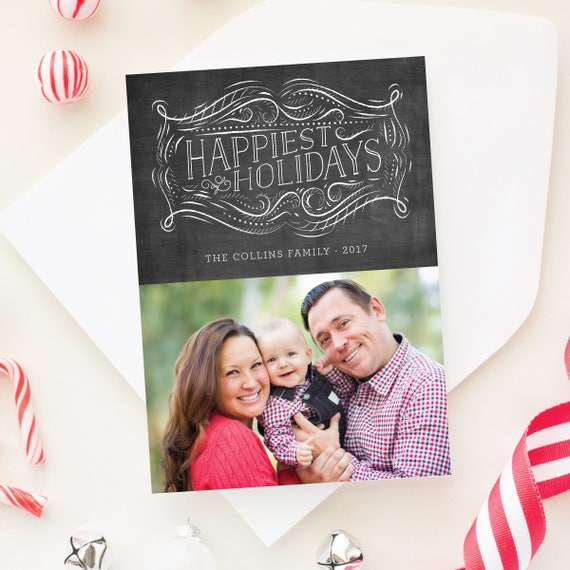 Holiday Photo Card, Holiday Chalkboard Card, 5x7 Holiday Cards, Merriest Christmas Family Photo Card - Chalkboard Label