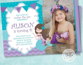 Mermaid Invitation, Mermaid Invite, The Little Mermaid invite, Ariel invitation, Ariel Invite, Photo invitation, Birthday invitation