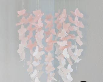 Medium Vellum Butterfly Mobile - OMBRE - Pastel Pink and White