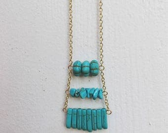NEW!  Turquoise and Gold Stacked Beaded Necklace