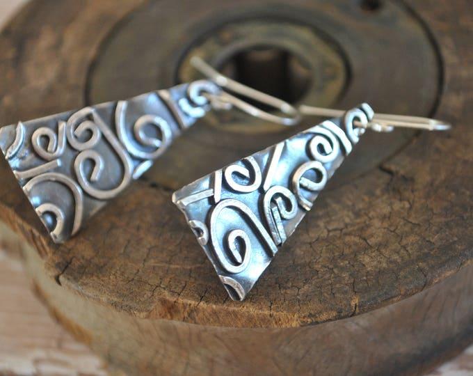 Sterling silver dangling earrings, textured metal earrings, artisan earrings