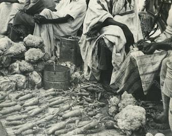 Africa vegetable market bazaar vintage ethnic photo