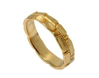 Jerusalem Wedding Band 14k Gold ,men Textured wedding ring, men gold band , organic design gold band, men wedding band, womens gold ring