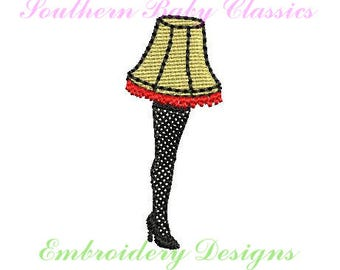 Christmas Fringe Leg Lamp Mini Design File for Embroidery Machine Instant Download