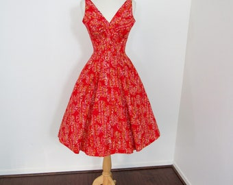 Glamorous 1950s Red Batik Print Cotton Sundress