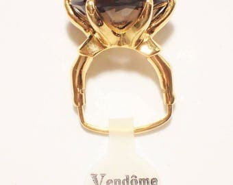 Vendome New Old Stock Amber Topaz Rhinestones Cocktail Ring
