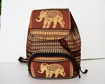 Elephant backpack, brown backpack with golden screen elephants, made of cloth, elephant bag, cloth bag,