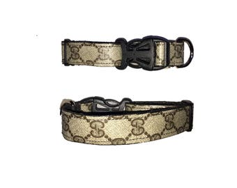 """Gucci dog collar 1"""" wide adjustable 8-15"""" GG repurposed monogram recycled upcycle"""