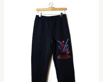 ON SALE Vintage SPIDER-Man Black Sweatpants from 1994/ Marvel/Deatstock*