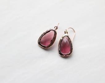Red Spinel Earrings - Rose Gold Dangle Earrings - Stone Earrings - Drop Earrings - Quartz Earrings - Red Earrings - Birthstone Earrings