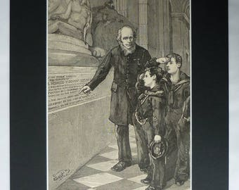 1880s Antique Royal Navy Cadets Print, Horatio Nelson Gift, Available Framed, Nautical Art, Battle of Trafalgar Picture, St Paul's Cathedral